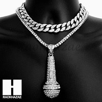 Hip Hop Silver Microphone Miami Cuban Choker Tennis Chain Necklace DS
