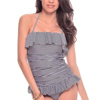 BLACK WHITE STRIPES HALTER RUFFLE RUCHED ONE PIECE SWIMSUIT