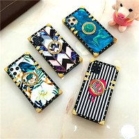 Square trunk style soft case for Iphone and Samsung phones with matching grip/stand