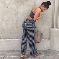 Striped Sexy Spaghetti Strap Rompers Womens Sets Sleeveless Backless Bow Casual Wide legs Jumpsuits Leotard Overal