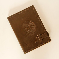 Rustic Brown Leather Notebook Journal Hand bound with 100% cotton recycled handmade paper