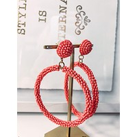 Coral Seed Beaded Post Earring with Large Hoop