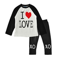 Baby girl clothing set heart summer 2017 new baby boys clothes sets letter t shirt+pant kids clothing set for toddler girls boys