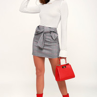 Houghton Grey Plaid Belted Mini Skirt