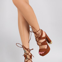 Qupid Suede Strappy Corset Lace Up Chunky Heel