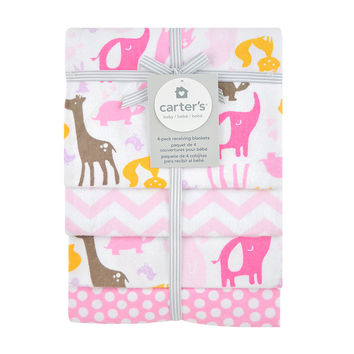 Safari Animals 4pk Flannel Receiving Blanket - Pink