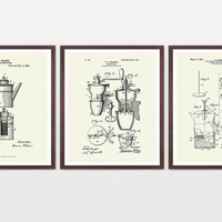 Coffee Poster - Inventions of Coffee - Coffee Prints - Percolator - French Press - Coffee Grinder - Kitchen Art - Vintage Coffee - Cafe