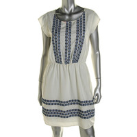 Maison Jules Womens Embroidered Sleeveless Casual Dress