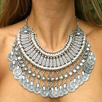 Gypsy Bohemian Beachy Coin Statement Bib Necklace Festival Turkish India Tribal-JS (Color: Silver gray) = 1928755204