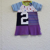 Birthday Dress for 2 Year Old made from Upcycled T-shirts, Recycled T Shirt Dress, Repurposed Tshirt Dress, Upcycled Handmade T Shirt Dress