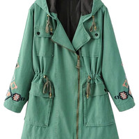 Green Embroidery Pattern Zip Up Hooded Coat
