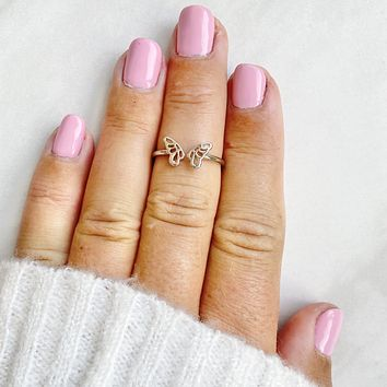 Give Me Wings Butterfly Midi Ring in Silver