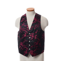 Vintage 50s 60s Cherry Blossoms Satin Suit Vest 1950s 1960s Asian Floral Brocade Roaring 20s Style Steampunk Waistcoat Jacket / Mens M