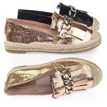 Leona Espadrille Metallic Slip On Flats Moccasin Loafer w Fringe & Metal Chain