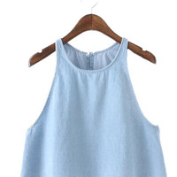 Women blue denim tank crop tops camis sexy sleeveless back open stitch blouse ladies summer casual shirts blusas WT325