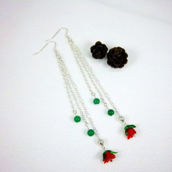 Valentines Day Red Rose and Green Gemstone Earrings Fantasy Woodland Jewelry