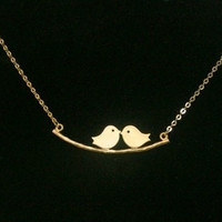 Love Birds Necklace Twins Birds Pendant Birds On A Branch Necklace = 1645721220
