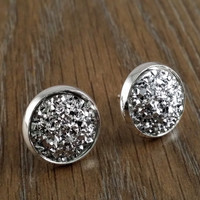 Druzy earrings- flat gunmetal drusy silver tone stud druzy earrings