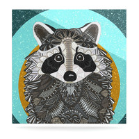 "Art Love Passion ""Racoon in Grass"" Gray Teal Luxe Square Panel"
