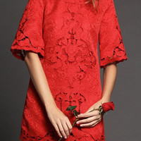 Red Floral Lace Cut Out Mini Dress