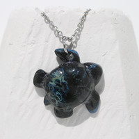 Sea turtle pendant Pottery pendant black blue and green pattern