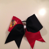 Chicago Blackhawks Cheer Bow by MyWildBows on Etsy