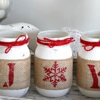 Rustic Farmhouse White & Red Christmas Decor - JOY