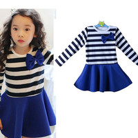 Girls Long Sleeve Shirt Blue Skirt 2pc Set
