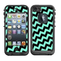 Skins Kit for Lifeproof iPhone 5 Case (skins/decals only) - Teal Baby Blue and Black Crooked Chevron