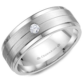CrownRing 8MM Wide Single Bezel Set Diamond Wedding Band
