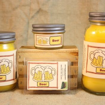Beer Scented Candle, Beer Scented Wax Tarts, 26 oz, 12 oz, 4 oz Jar Candles or 3.5 Clam Shell Wax Melts