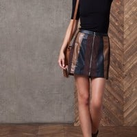 Leather-look patch skirt - SKIRTS - WOMAN | Stradivarius Republic of Ireland