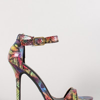 Wild Diva Lounge Multicolor Snake Ankle Strap Open Toe Heel