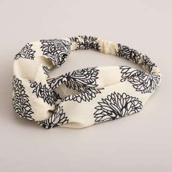 Black and Ivory Hibiscus Turban Headband - World Market