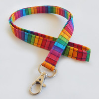 Rainbow Lanyard / Stripes / Keychain / Colorful Lanyard / Pretty Lanyards / Key Lanyard / ID Badge Holder / Rainbows / School Supplies