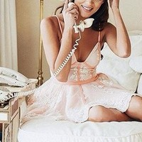 Keep Dreaming Pink Lace Sleeveless Spaghetti Strap Bustier V Neck Skater Circle A Line Flare Mini Dress  - Sold Out