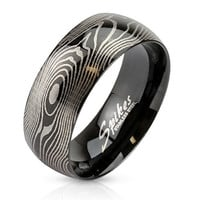 8mm Finger Print Laser Etched Black IP Ring Stainless Steel Men's Fashion Ring