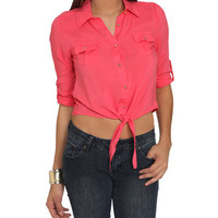 Chiffon Utility Tie Shirt | Shop Just Arrived at Wet Seal