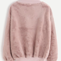 Contrast Ribbed Trim Drop Shoulder Fluffy Sweatshirt -SheIn(Sheinside)