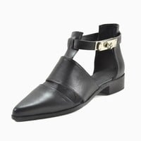 Black Leather Pointed Cut Out Shoes - Choies.com