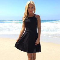 Scalloped Beauty Skater Dress In Black