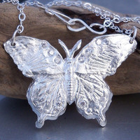 Butteryfly Necklace, Fine Silver .999 Butterfly, Argentium Sterling Silver Necklace, Cubic Zirconia Butterfly Necklace, 18 Inch Necklace