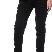 Almost Famous Cargo Pocket Black Twill Jogger Pants