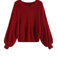 SheIn Red Women Sweaters and Pullovers V Neck Loose Christmas Sweater Autumn Women Dip Hem Seam Oversized Sweater