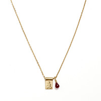 Gold Little Buddha and Ruby Necklace