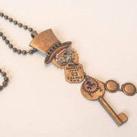 Steampunk top hat choker pocket watch gears skeleton key goggles charm necklace vintage jewelry one of a kind gifts under 25 dollars