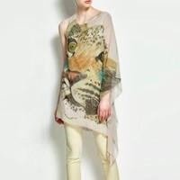 Women's Asymmetrical Sleeve Hem Flutter Chiffon Tiger Head Blouse Shirt Long Top