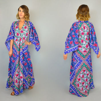 reserved---Vtg 70s INDIAN COTTON bobo ethnic hippie gypsy angel wing dashiki MAXI caftan dress, extra small-medium