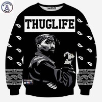 Mr.1991INC Europe And America fashion men's hip hop hoodies print Rapper 2pac Tupac 3d sweatshirt THUGLIFE hoodies