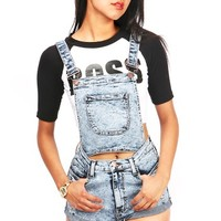 Convertible Acid Denim Overalls - Short Overalls at Pinkice.com